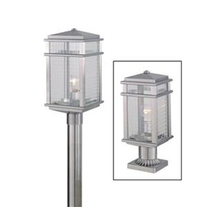 Feiss Mission Lodge Brushed Aluminum Post Mount Light.