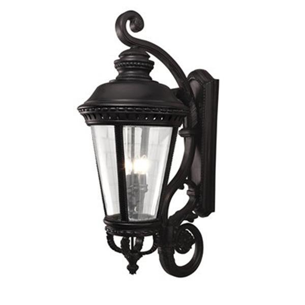 Feiss Castle 37.25-in Black 4-Light Outdoor Sconce