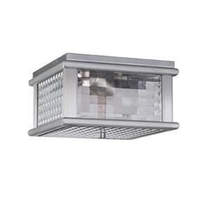 Feiss Mission Lodge Brushed Aluminum 2-Light Outdoor Flush Mount Light