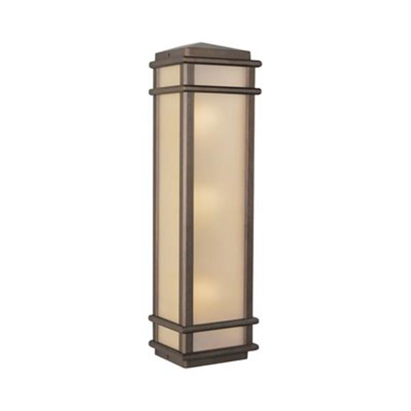Feiss Mission Lodge 26-in Corinthian Bronze 3-Light Half Outdoor Sconce