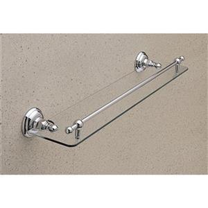 Rohl Country Bath 5.69-in x 24.25-in x 2.72-in Satin Nickel Finish Glass Bathroom Shelf