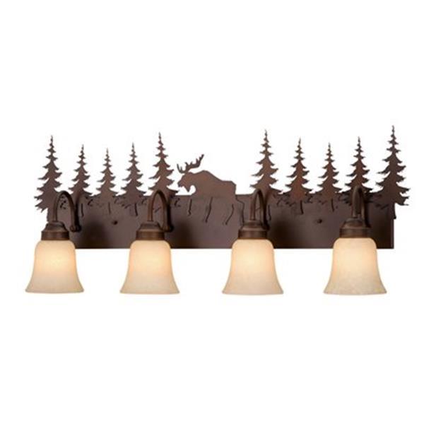 Cascadia Yellowstone 4-Light Bronze Rustic Moose Bathroom Vanity Light