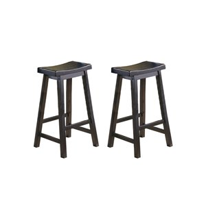 Homelegance Saddleback 29-in Black Sand-Through Bar Stool ( Set of 2)