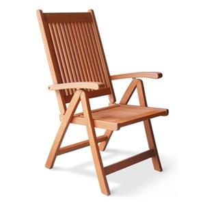 Vifah Vista Eucalyptus Wood Outdoor Five Position Reclining Armchair