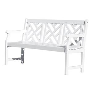 Vifah Atlantic White 3-Seater Outdoor Wood Garden Bench