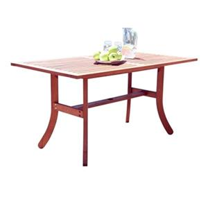 Vifah Malibu 59-in x 31-in Natural Wood Rectangular Outdoor Wood Dining Table