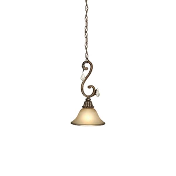 Artcraft Lighting Florence Collection 8.62-in x 16.38-in Bronze Bell Chain Mini Pendant