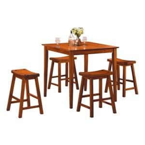 Homelegance Dinette Medium Oak 5-Piece Saddleback Counter Height Dining Set