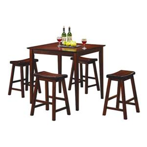 Homelegance Dinette Warm Cherry 5-Piece Saddleback Counter Height Dining Set
