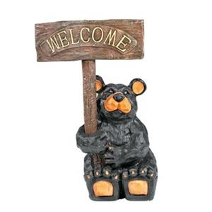 RAM Game Room Products Resin Welcome Bear Garden Sign