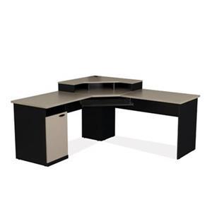 Bestar Hampton 35.30-in x 70.10-in Black Corner Workstation Desk