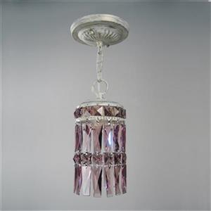 Classic Lighting Cascade Collection 4-in x 8-in Antique White Amethyst Crystal Cylinder Mini Pendant
