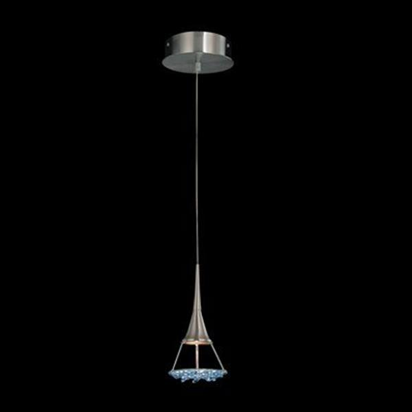 Classic Lighting Crystal Lake Collection 5-in x 13-in Satin Nickel Sapphire Crystal Mini Pendant Light