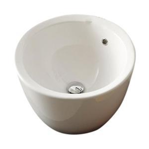 Nameeks Scarabeo Matty 11.80-in x 11.80-in White Ceramic Round Vessel Sink