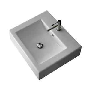 Nameeks Scarabeo 23.60-in x 20.10-in White Vitreous China Rectangular Wall Mount Bathroom Sink