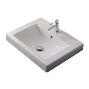 Nameeks Scarabeo 23.60-in x 20.10-in White 8-in Centerset Vitreous China Rectangular Drop-In Self Rimming Bathroom Sink