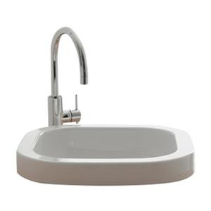 Nameeks Scarabeo Next 15.80-in x 15.80-in White Vitreous China Square Washbasin Self Rimming Bathroom Sink