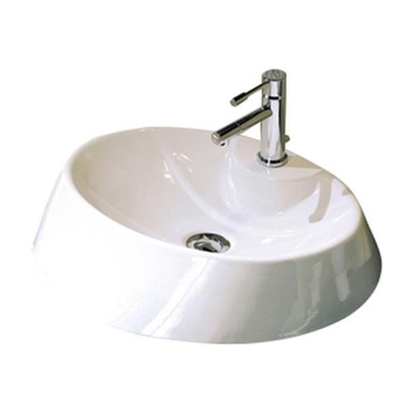 Nameeks Scarabeo Rugby 33.80-in x 17.70-in White Vitreous China Oval Washbasin Self Rimming Bathroom Sink