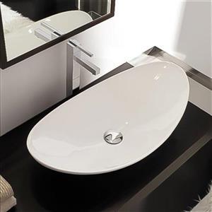 Nameeks Scarabeo Zefiro 27.20-in x 14.60-in White Vitreous China Oval Vessel Sink