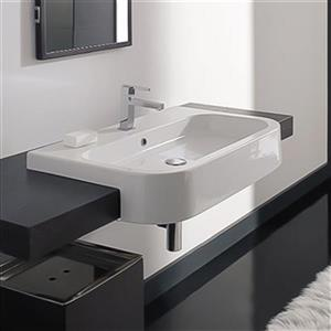 Nameeks Scarabeo Next 31.90-in x 19.70-in White Vitreous China Rectangular Drop-In Semi-Recessed Sink