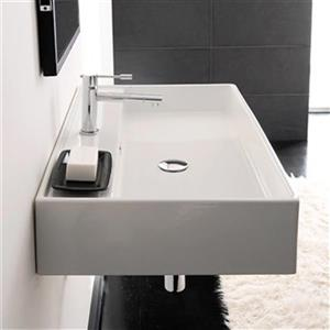 Nameeks Scarabeo Teorema 31.50-in x 18.10-in White 8-in Centerset Vitreous China Rectangular Wall-Mount Bathroom Sink