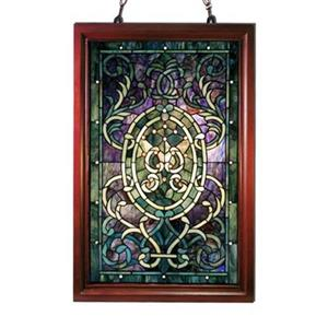 Warehouse of Tiffany 32-in x 20-in Tiffany Style Boarder Wooden Frame Window Panel Stained Glass