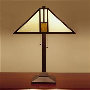 Warehouse of Tiffany 18-in x 25-in Yellow/White Tiffany Style White Mission 2-Light Table Lamp