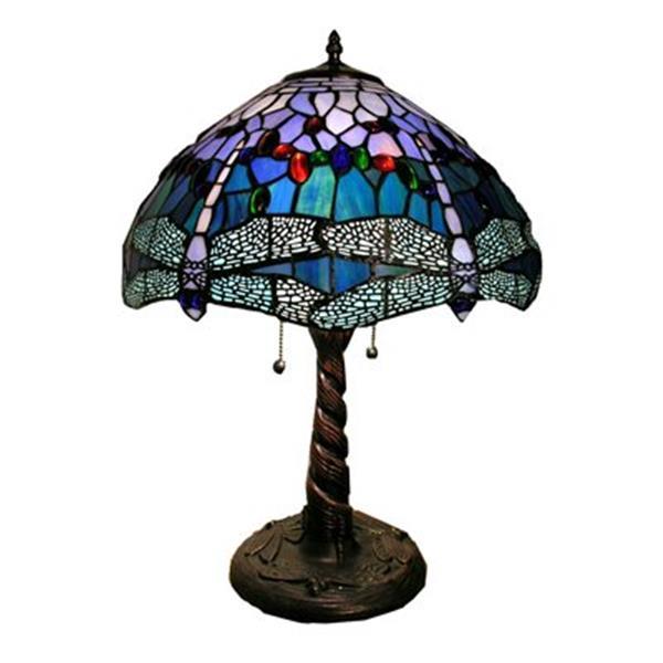 Lampe de table Tiffany de style libellule, 2 lumières