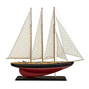 IMAX Worldwide Captain's Quarters Large Nautical Birchwood Sail Boat with Canvas Sails