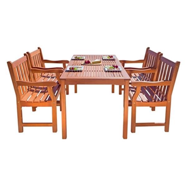 Vifah Malibu Outdoor Patio 5-Piece Wood Dining Set