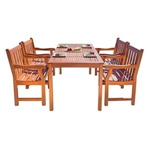 Vifah Malibu Outdoor Patio 5-Piece Wood Dining Set