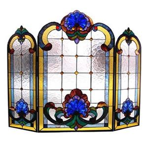 Chloe Lighting 22-in Roses Panel Stained Glass