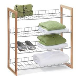 Honey Can Do 27.40-in 4 Tier Wood and Metal Storage Shelf