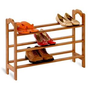 Honey Can Do 21-in Bamboo 3 Tier Shoe Rack
