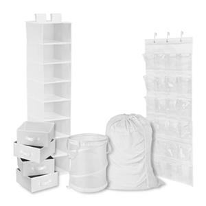 Honey Can Do White Polyester 8-Piece Room and Laundry Organizer Kit