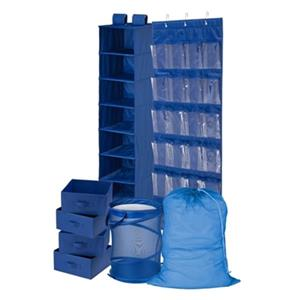 Honey Can Do Blue Polyester 8-Piece Room and Laundry Organizer Kit