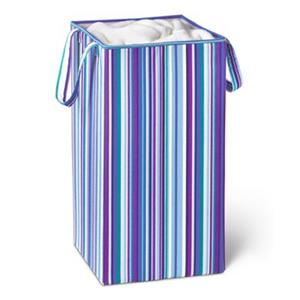 Honey Can Do Blue Striped Collapsible Rectangle Laundry Hamper