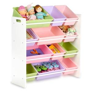 Honey Can Do 33.25-in x 36-in White Twelve Bin Toy Organizer
