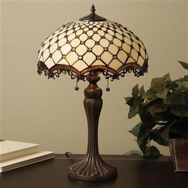 Warehouse of Tiffany 2-Light Style Jewel Roman Table Lamp
