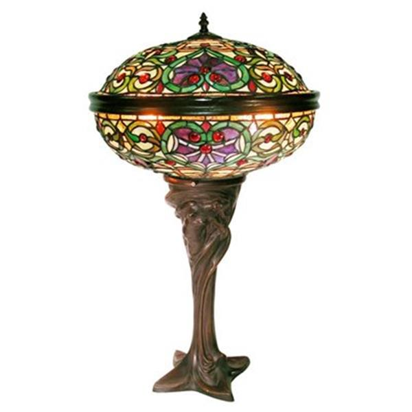 Warehouse of Tiffany 17-in x 28-in Multi-coloured 2-Light Barquare Domed Table Lamp