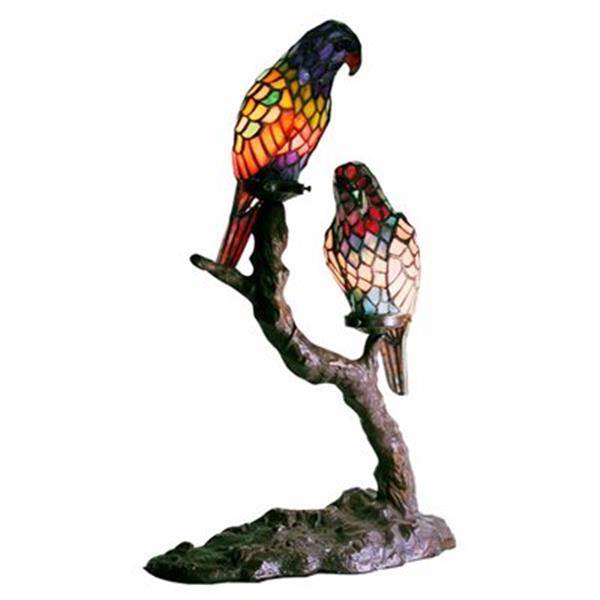 Warehouse of Tiffany 15-in x 23-in Multi-coloured Exotic Birds 2-Light Accent Table Lamp