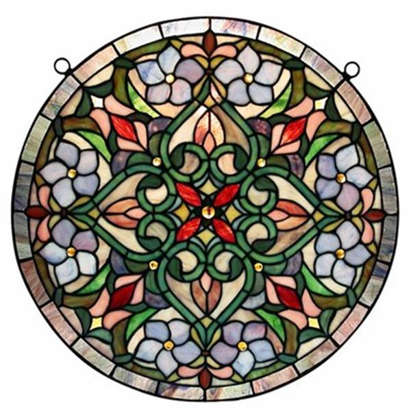 Warehouse of Tiffany Tiffany Stained Glass Hanging Round Window Panel