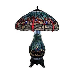 Warehouse of Tiffany 3 Light Tiffany Style Dragonfly Table Lamp
