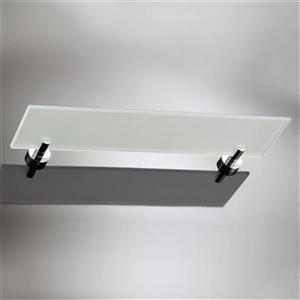 WS Bath Collections Baketo 5.5-in x 23.3-in x 0.3-in Chromed Brass Finish Glass Bathroom Shelf