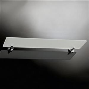 WS Bath Collections Baketo 5.5-in x 31.2-in x 0.3-in Chromed Brass Finish Glass Bathroom Shelf