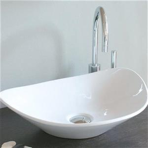 WS Bath Collections Ceramica 20.86-in x 16.54-in White Ceramic Semi-Circle Vessel Sink