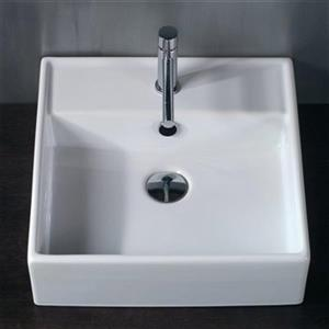 WS Bath Collections Ceramica 18.30-in x 18.30-in White Ceramic Square Vessel Sink