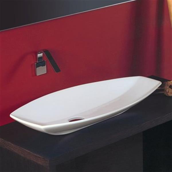WS Bath Collections Ceramica 31.50-in x 15.70-in White Ceramic Irregular Vessel Sink