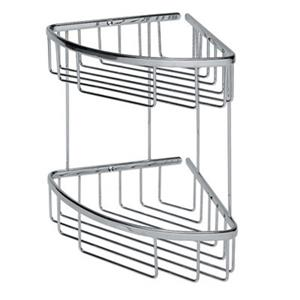 WS Bath Collections Filo 7.8-in Polished Chrome Double Basket Shower Caddy