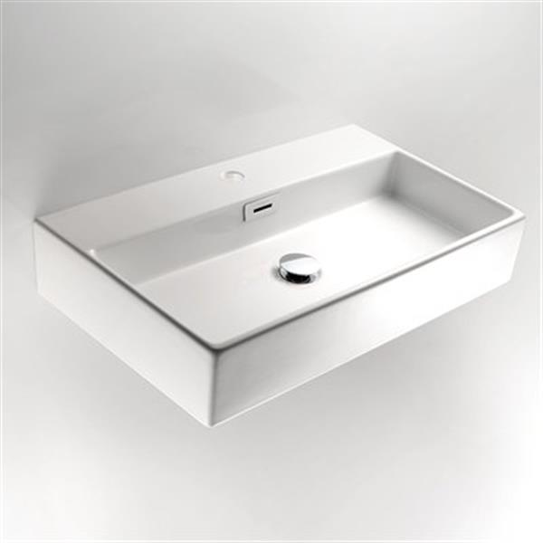 WS Bath Collections Linea 16.50-in x 14.20-in White Ceramic Rectangular Wall-Mount Vessel Sink